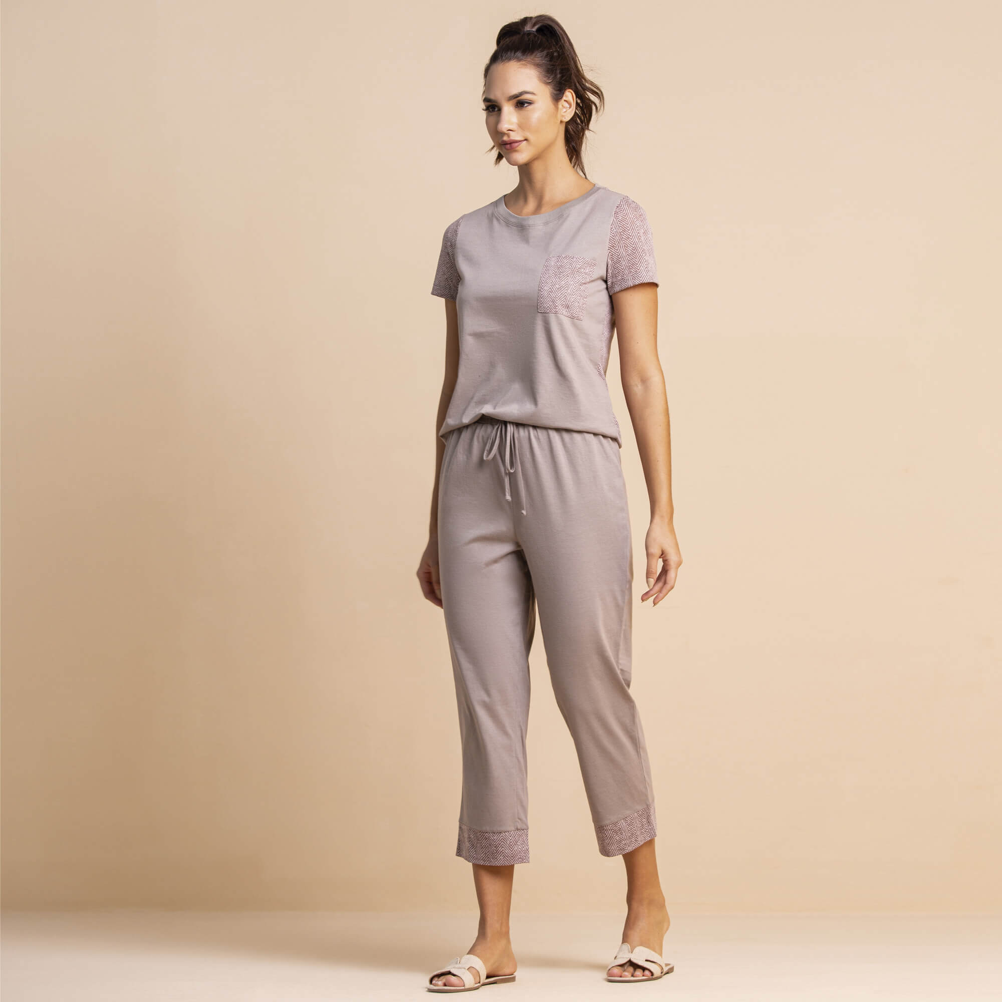 Pijama pantacourt zigzag