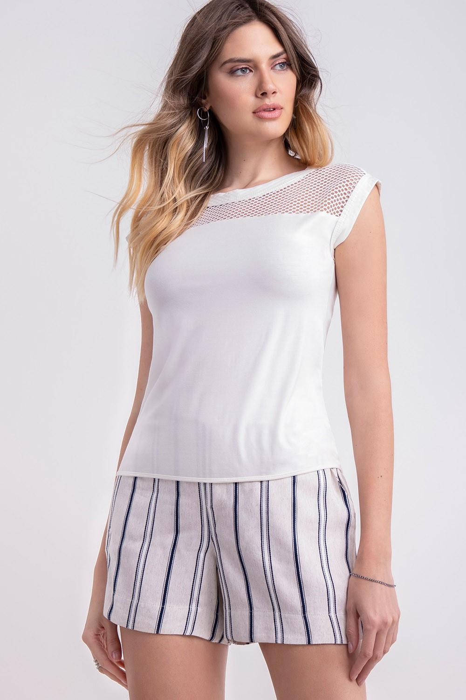 T-shirt malha com tela