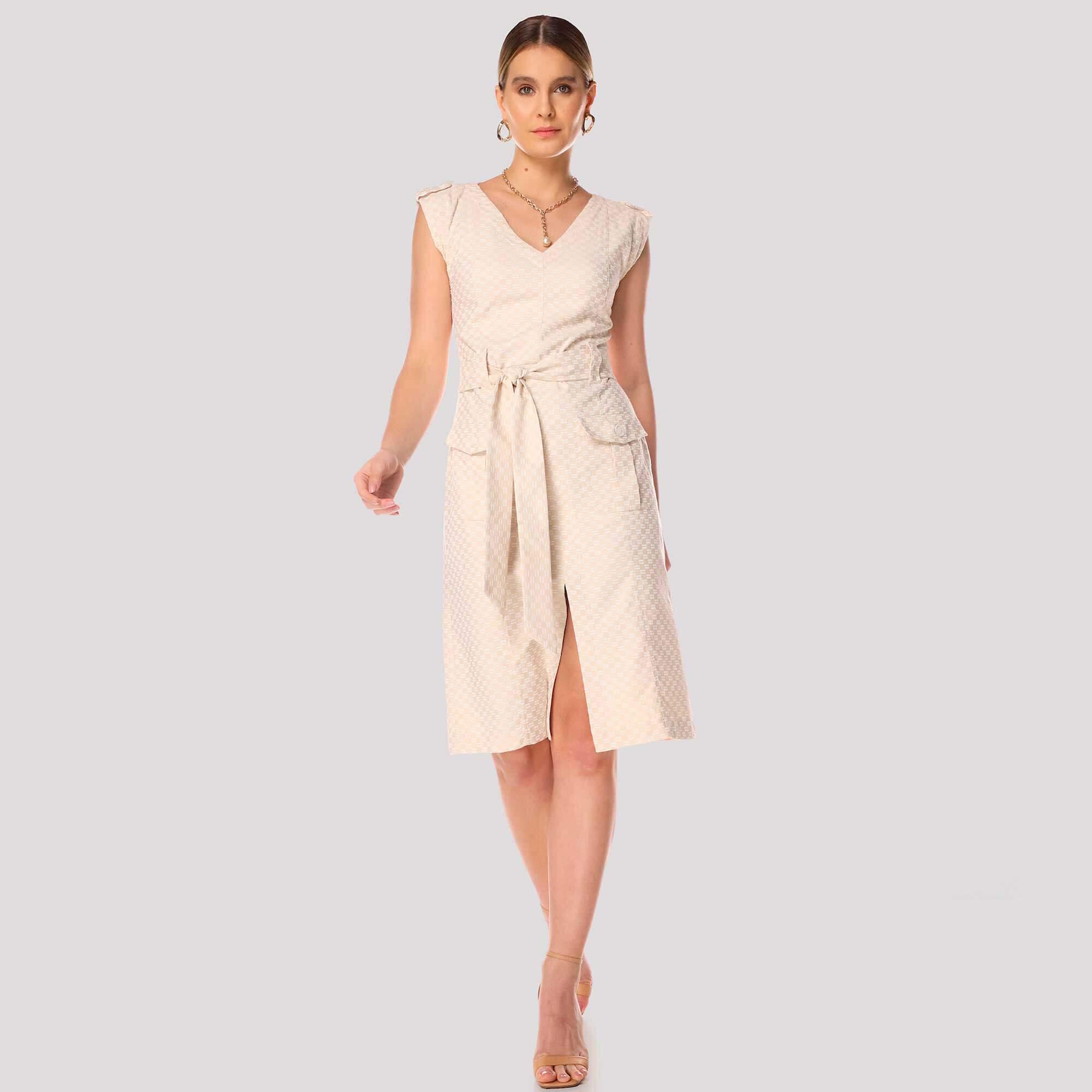 Vestido Jacquard C/ Bolsos
