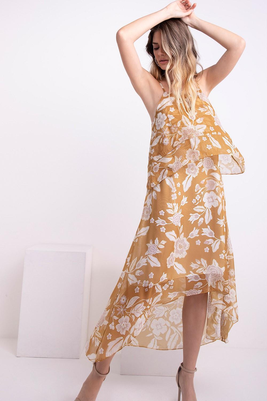 Vestido midi chiffon floral