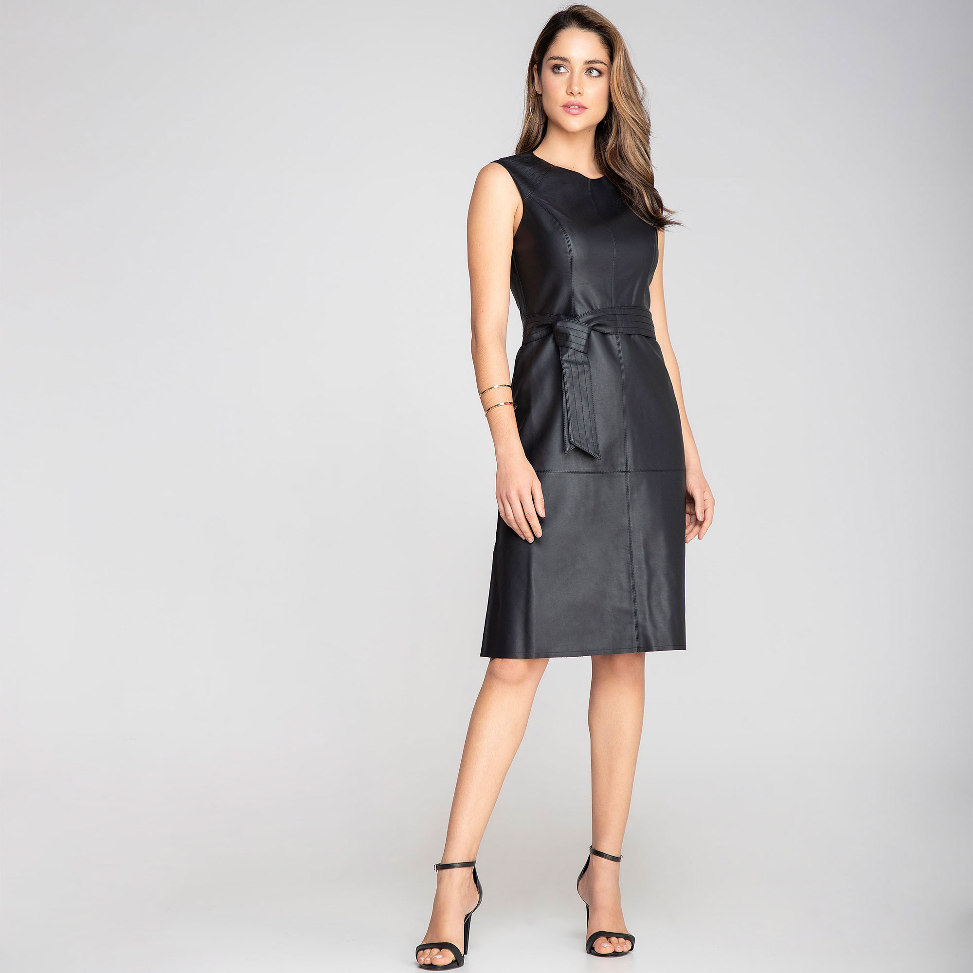 Vestido Midi Couro Sintético