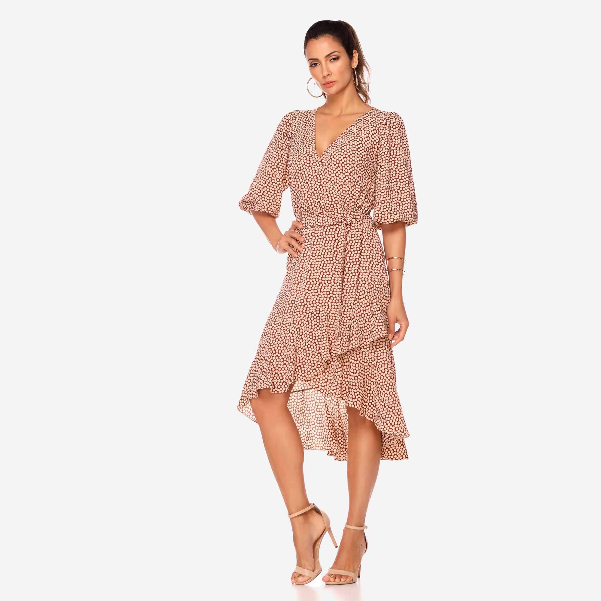 Vestido Silk Poá Babados