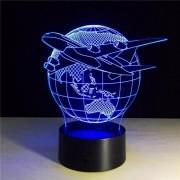 Luminária Led 3D - Airplane Globe