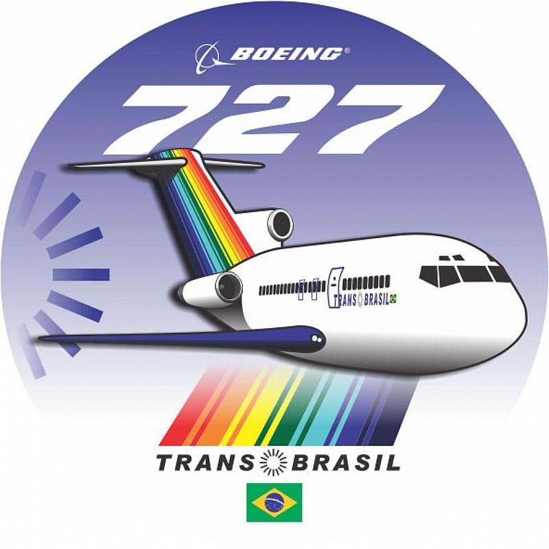 Adesivo Boeing 727 TransBrasil