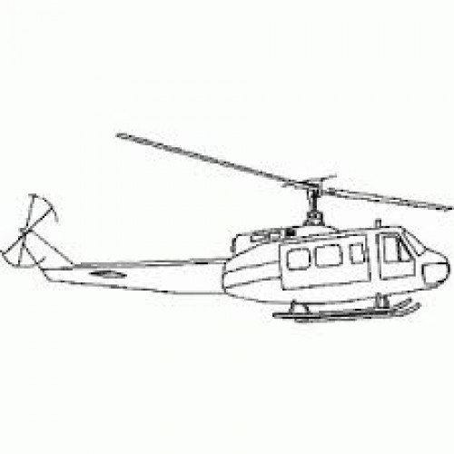 Adesivo Plotter - Helicóptero Vintage Preto