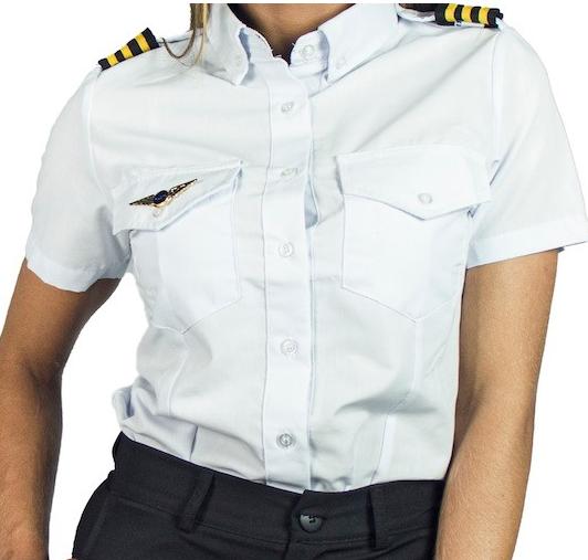 Camisa para Piloto - Manga Curta - Colarinho Preto - Feminina