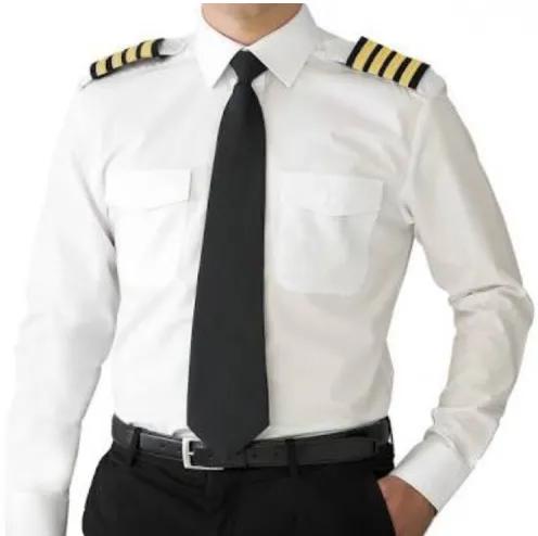 Camisa para Piloto - Manga Longa - Colarinho Preto - Feminina