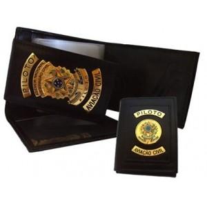Carteira e Porta Cheques com Acabamento em Ouro - Piloto