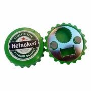 Abridor de Garrafas Formato Tampa com Imã - Marca Heineken