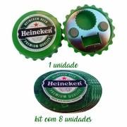 Kit de 1 Abridor de Bebidas Formato Tampa e 8 Bolachas de Chopp - Marca Heineken