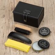 Kit Engraxate com 5 peças estojo em couro sintético