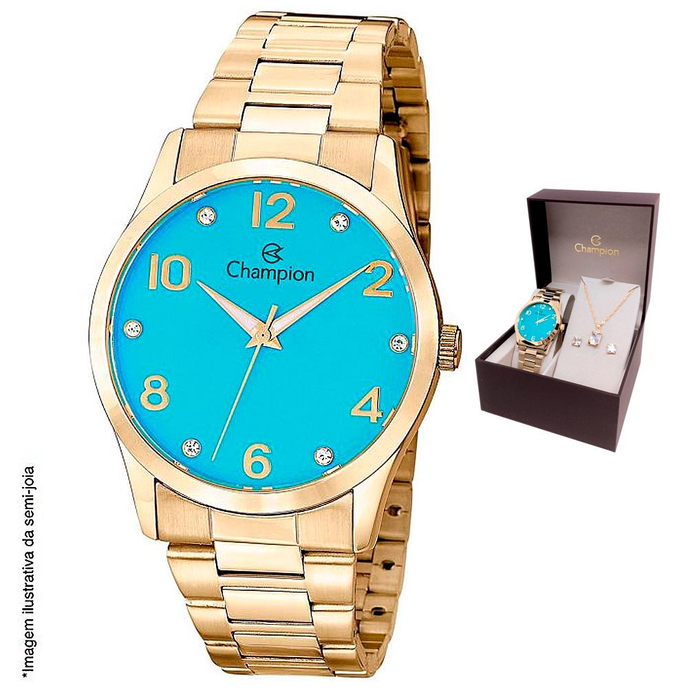 Kit Relógio Champion Dourado com Fundo Azul + Semi-jóias
