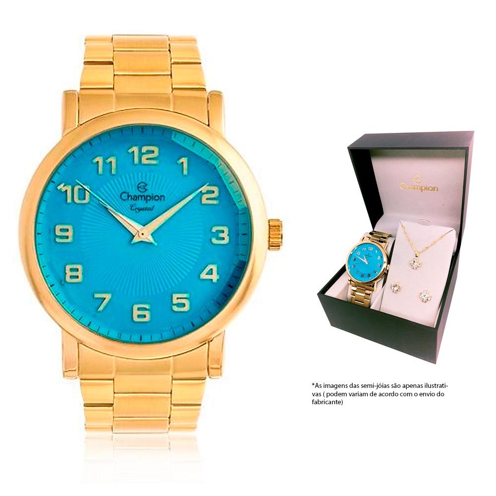 Kit Relógio Champion Dourado Visor Azul + Colar e Brincos