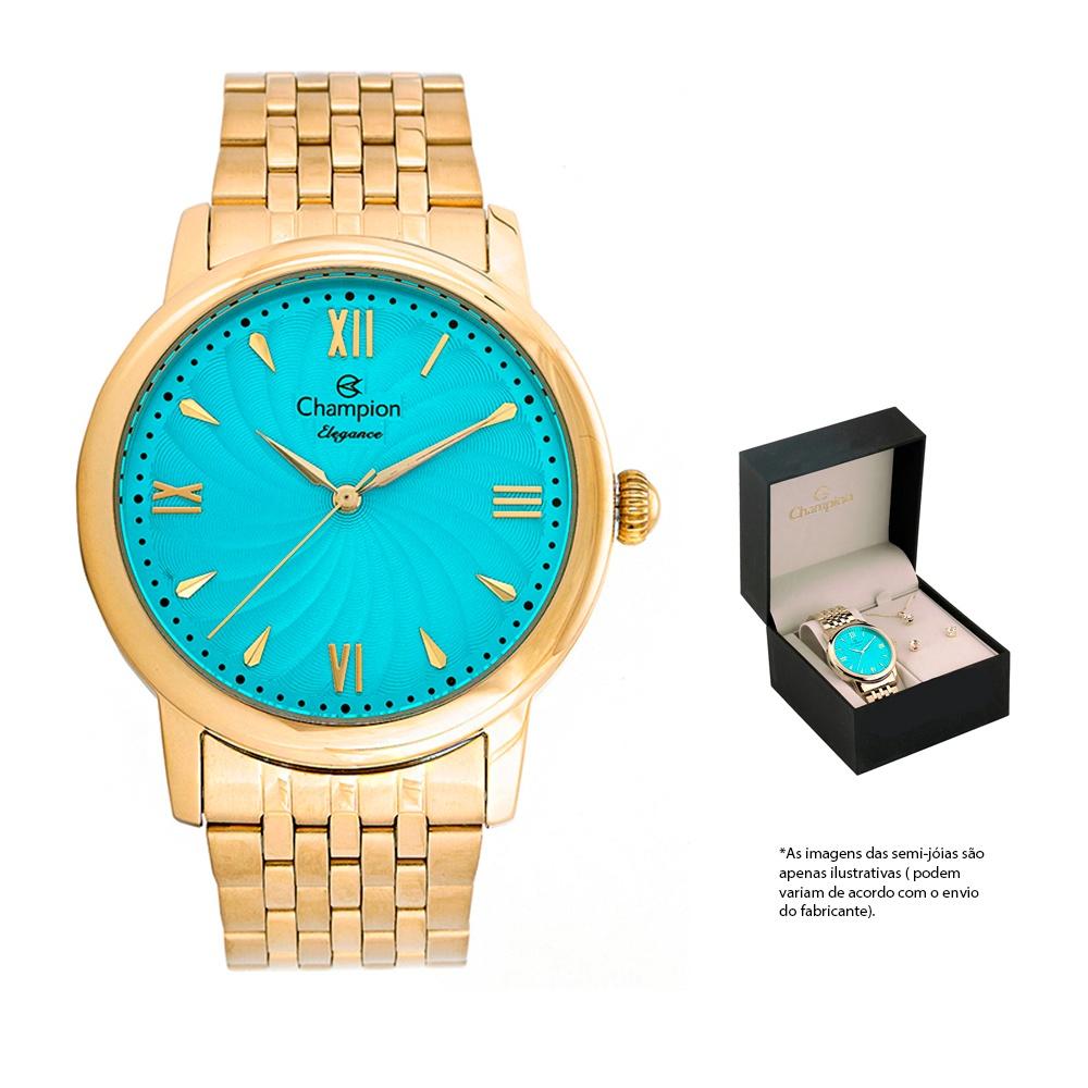 Kit Relógio Champion Elegance Dourado Visor Azul + Semi-jóia