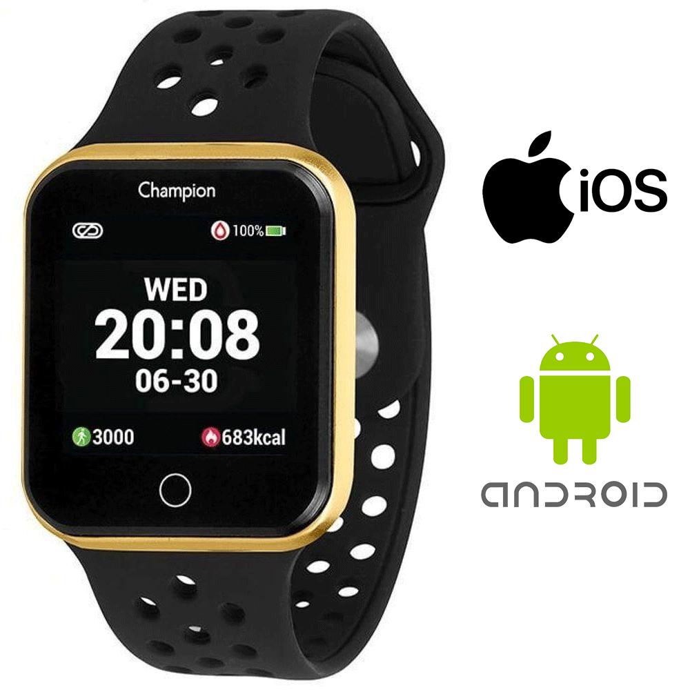 Relógio Champion Smartwatch Bluetooth Preto Caixa Dourada
