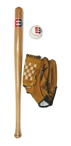 Kit Taco De Baseball De Madeira Com Bola E Luva