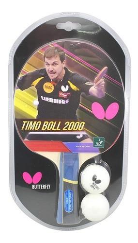 Raquete Tenis De Mesa Butterfly Timo Boll 2000+2 Bolas 40+