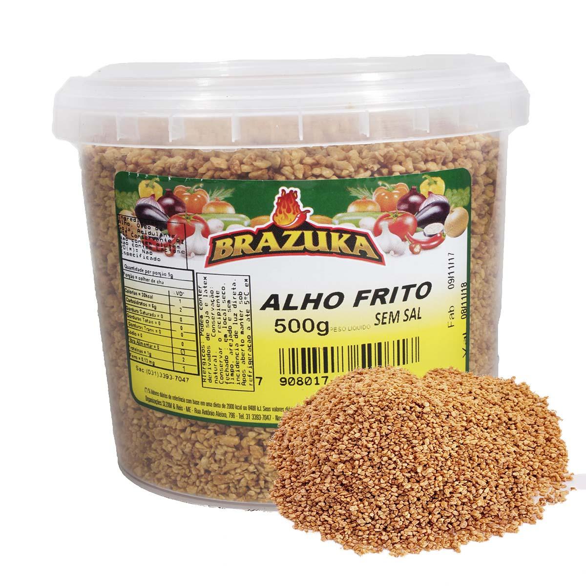 ALHO FRITO PURO PRONTO BRAZUKA 500GR