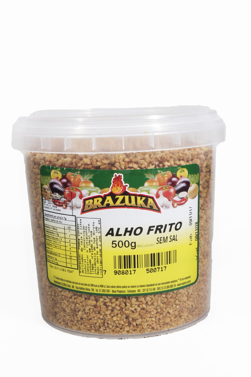Alho Frito Seco Brazuka puro sem sal pote 500g