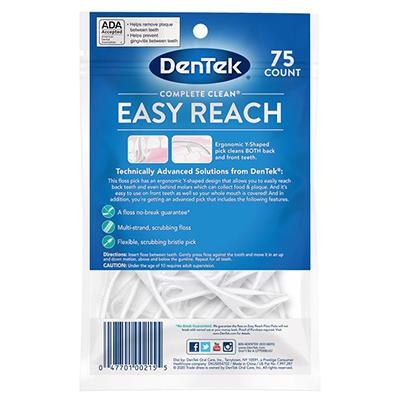 DenTek Flosser Floss Picks Complete Clean Easy Reach com 75 unidades