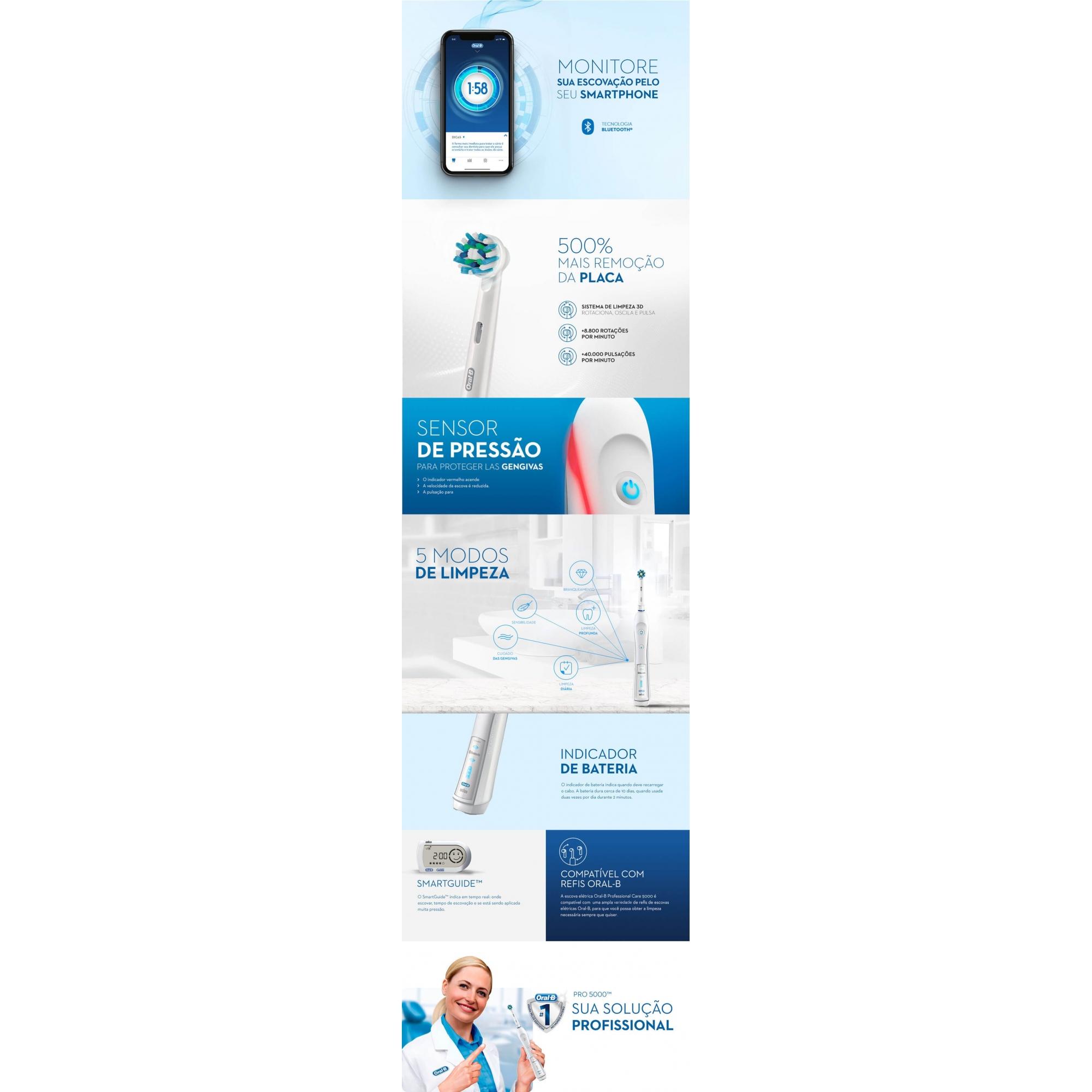 Escova Dental Elétrica Oral-B Professional Care 5000 - D16