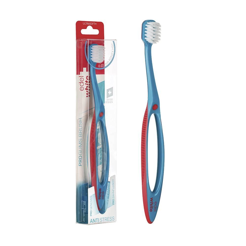 Escova Dental Suíça Edel-White Pro Gums Cerda Ultra Macia c/ Cabo Anti-Estresse