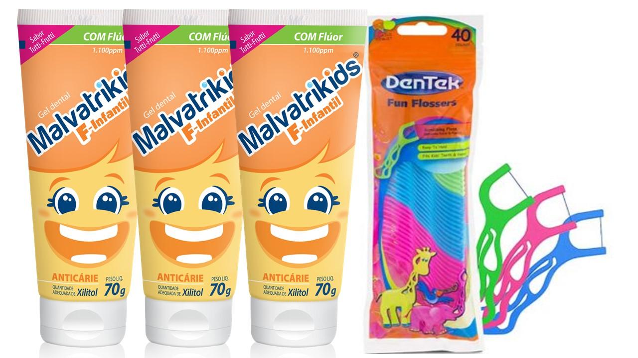Kit Malvatrikids F Gel Dental com 3 unidades e Flosser Dentek infantil grátis