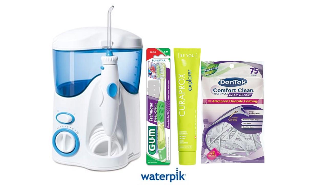 Kit Waterpik 100B 110V + produtos de saúde bucal