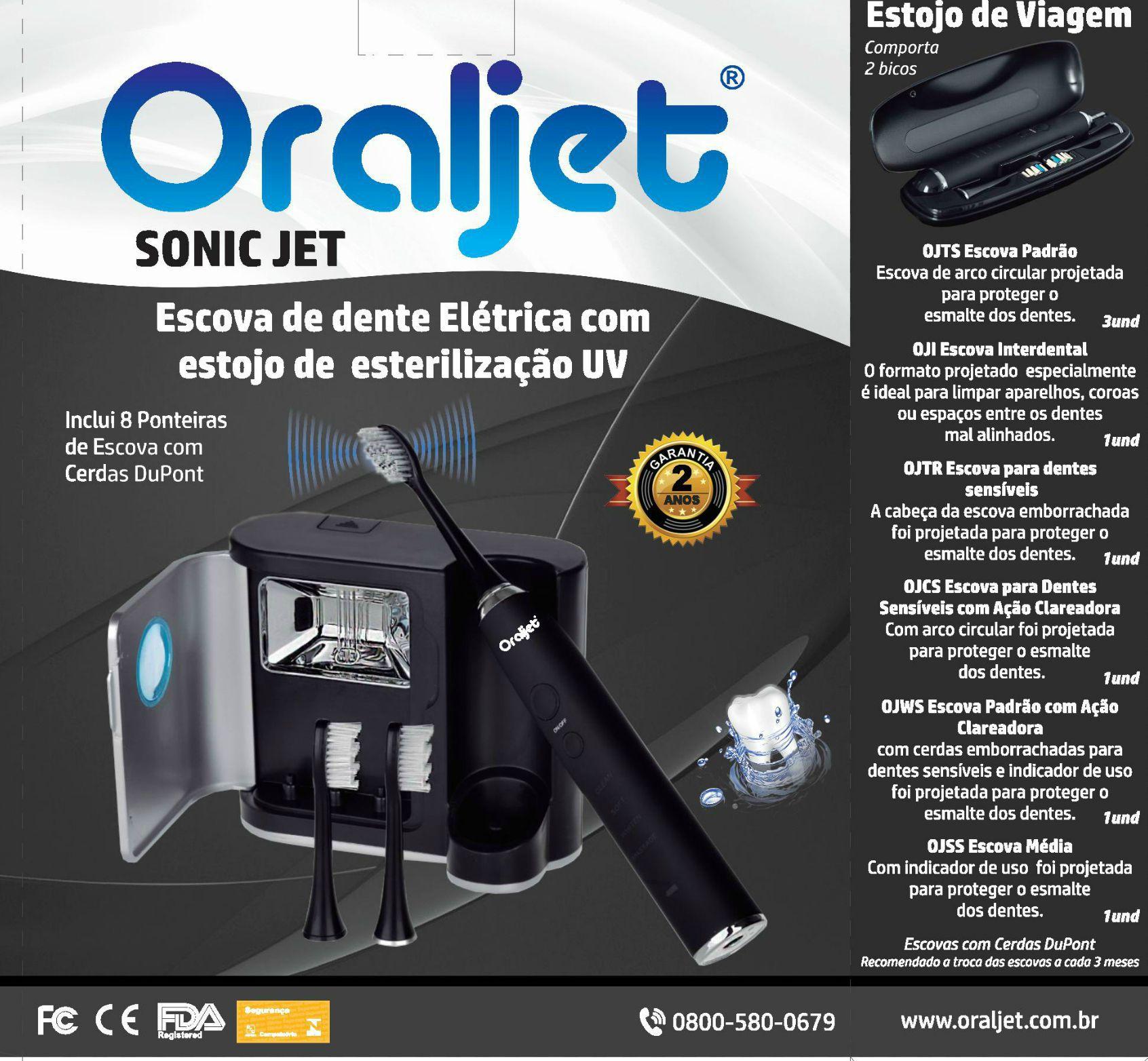 Oraljet Escova Dental Elétrica Ultrassônica SonicJet com 8 cabeças - Bivolt