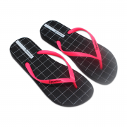 Chinelo Grendene Ipanema Preto/Rosa Neon Temas V
