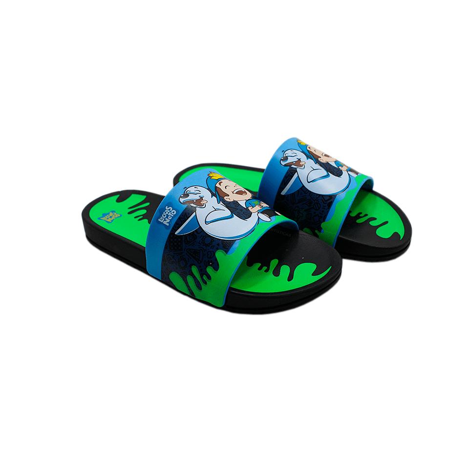 Chinelo Slide Luccas Neto Preto/Azul/Verde