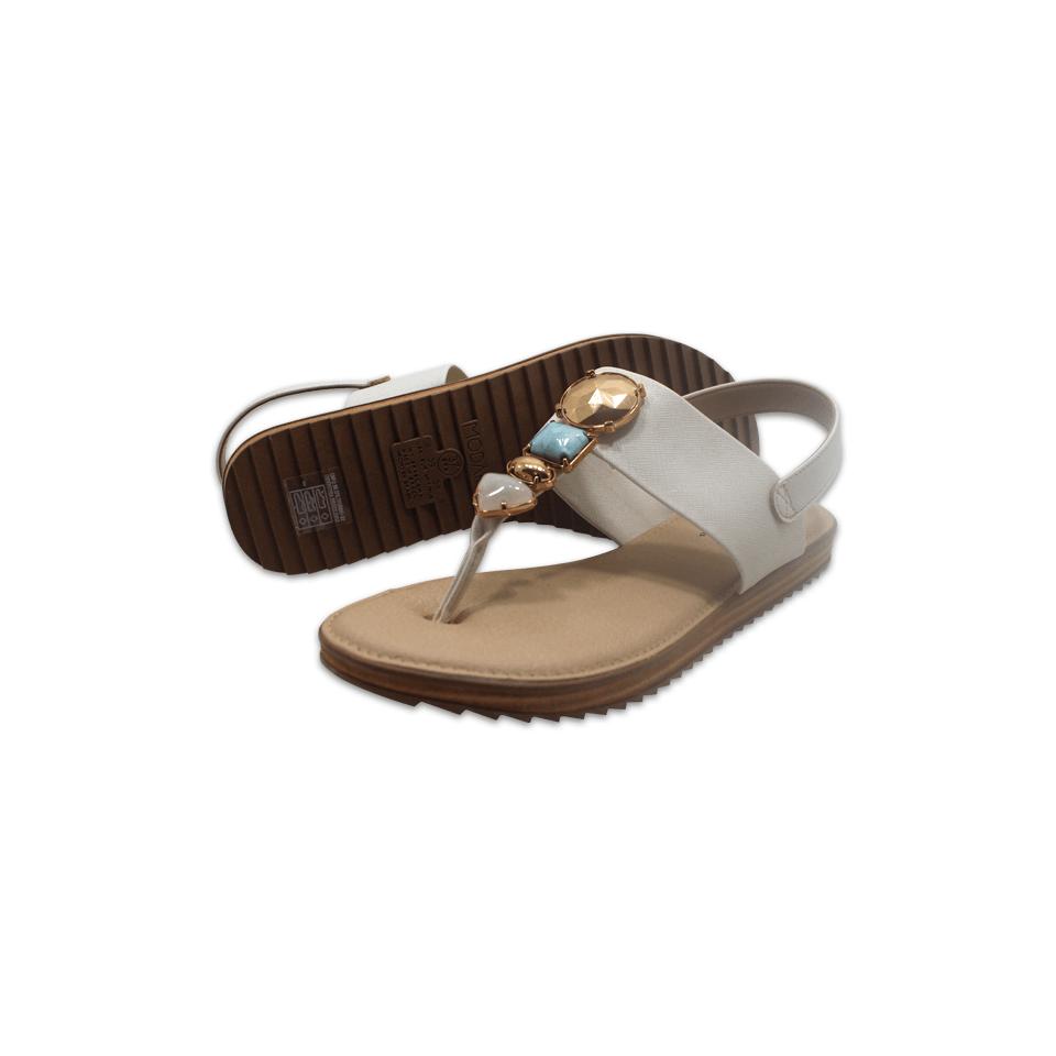Sandália Modare Linho Metal Branco