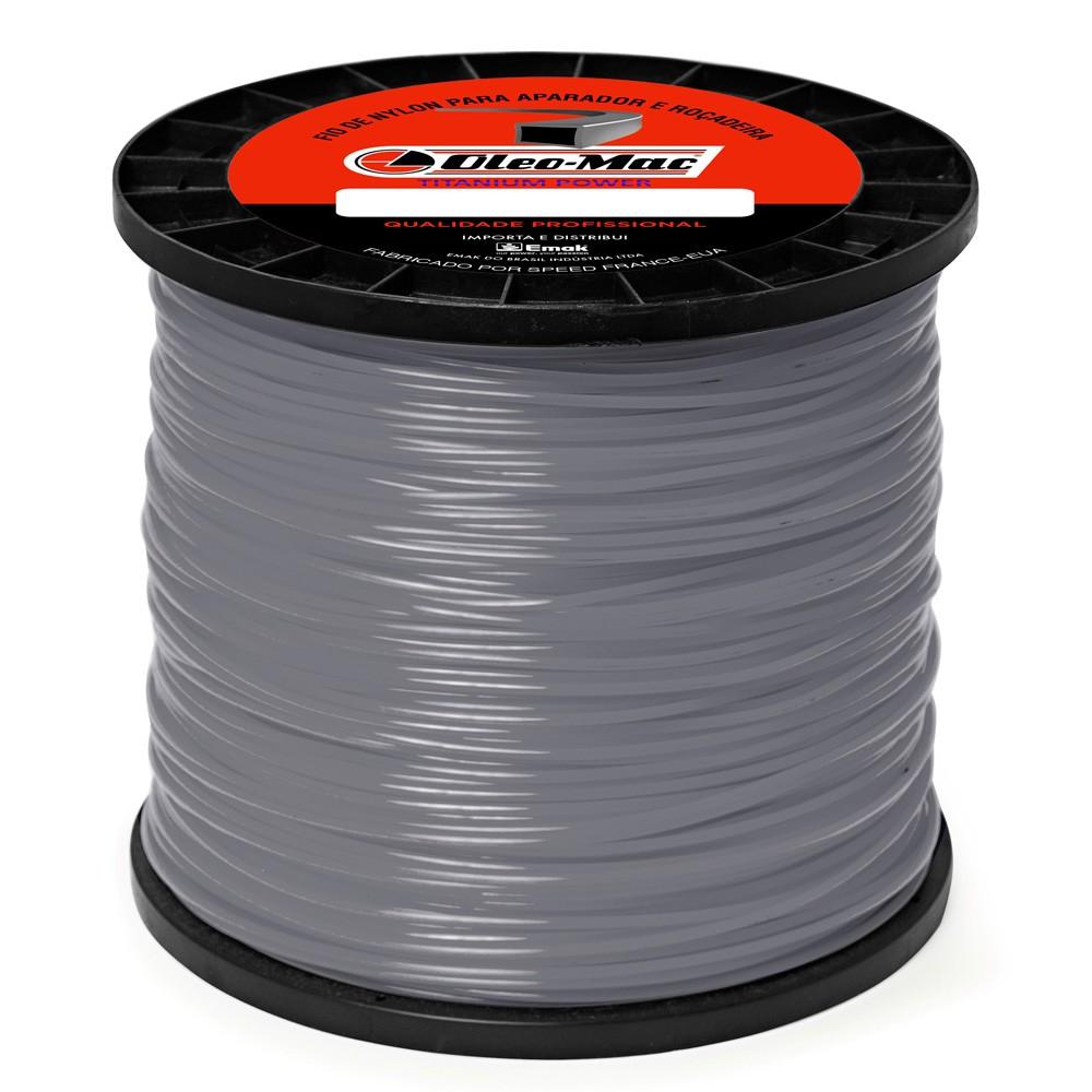 Bobina fio de nylon Titanium Quadrado 3 0mm  peso 2 2KG com 221 mts
