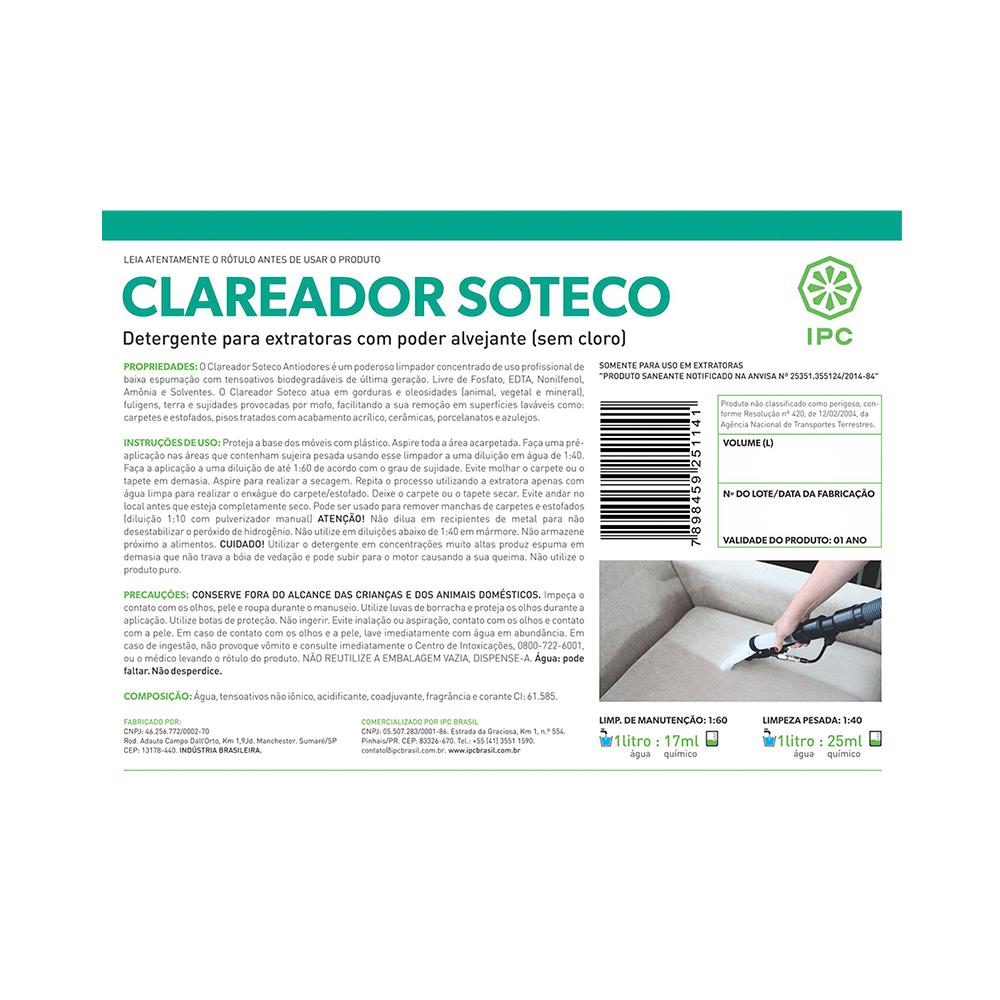 Detergente para Extratora IPC Clareador 5lts para limpeza de estofados