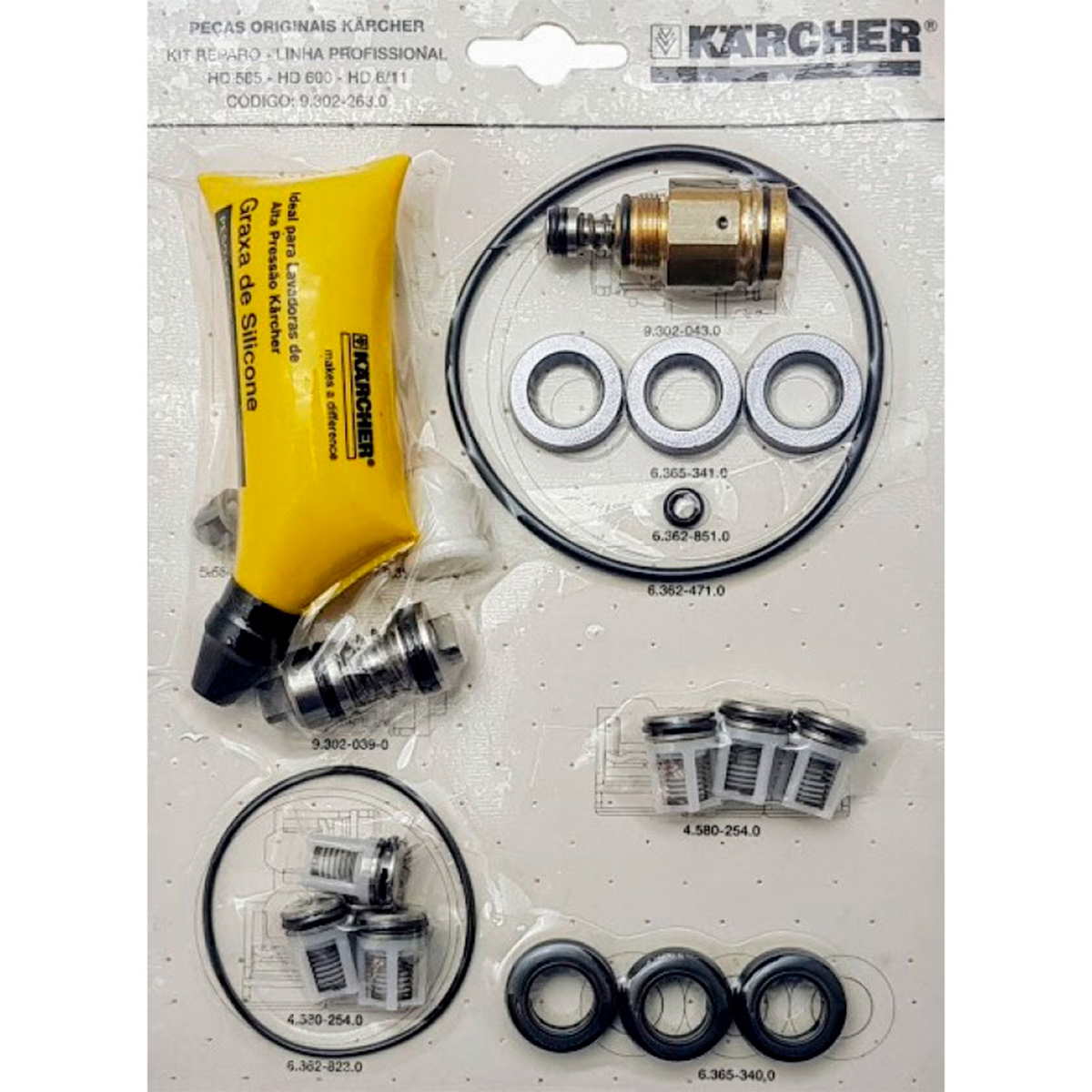 Kit Reparo para Lavadora de Alta Pressão Karcher HD585, HD600, HD6/11, HD5/12C C/19pçs Original