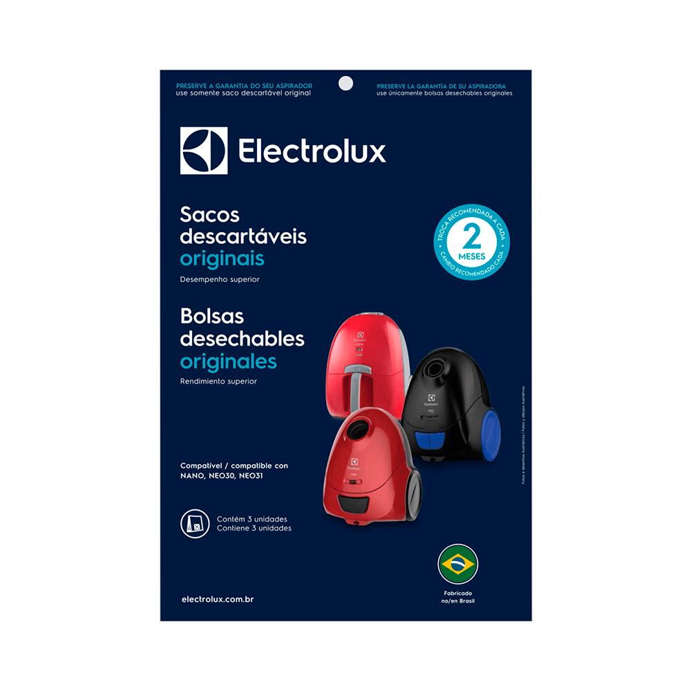 Kit Saco Descartável para Aspirador de pó Electrolux Nano, Neo 3un Original