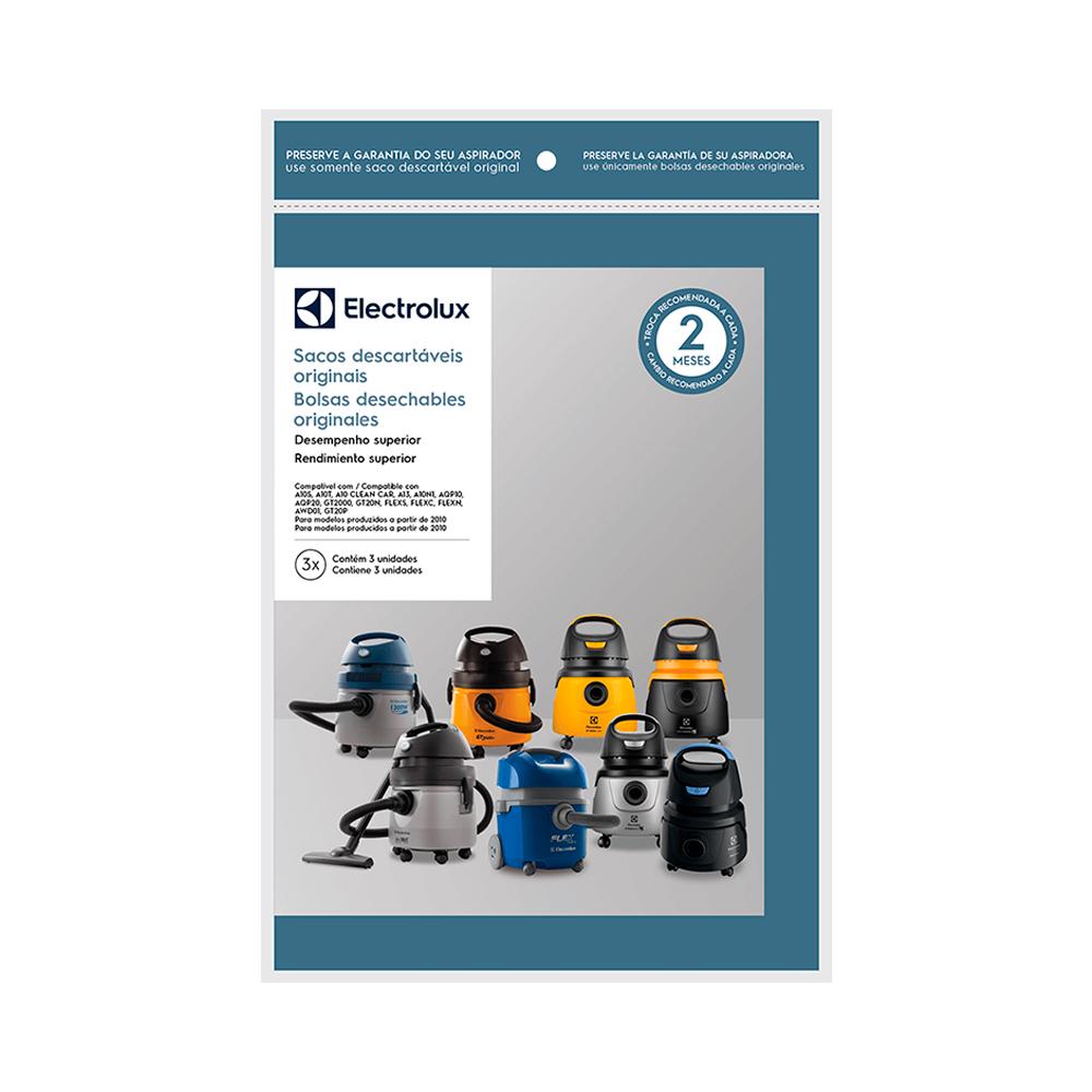 Kit Saco descartável para Aspirador Electrolux A10S, GT200, AQP10, FLEX, A10N1, AQP20, GT20N 3un Original