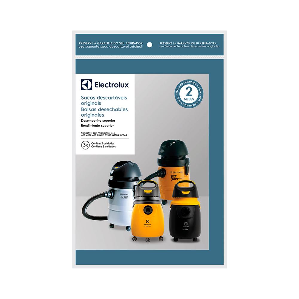 Kit Saco descartável para aspirador Electrolux A20, A20L, A20S, GT3000, GT30N 3un Original