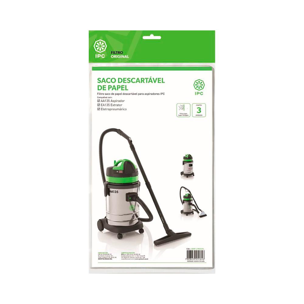Kit Saco descartável para Aspirador IPC AA135, Eletropneumático, Extratora EA135 3un Original