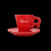 Xícara Vermelha de Café com Pires