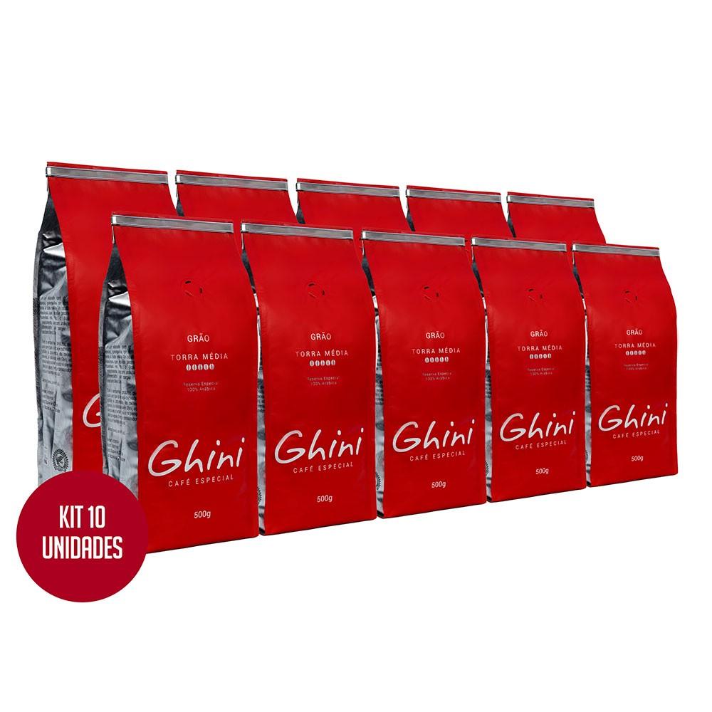 Kit Café em Grãos Torrado 500g - 10 Pacotes  - Café Ghini