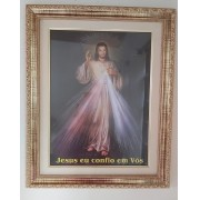 Quadro Jesus Misericordioso 53x43 (moldura Dourada)