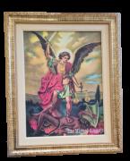Quadro São Miguel Arcanjo com moldura dourada