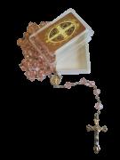 Terço de São Bento de Cristal (Rosa Claro)
