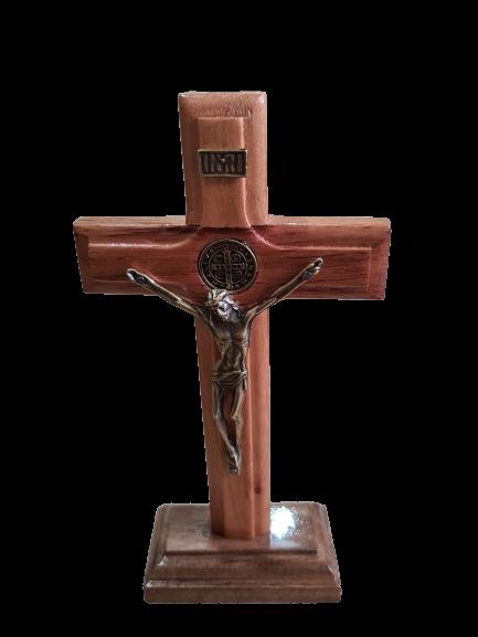 Crucifixo Madeira 17cm Pedestal Liso