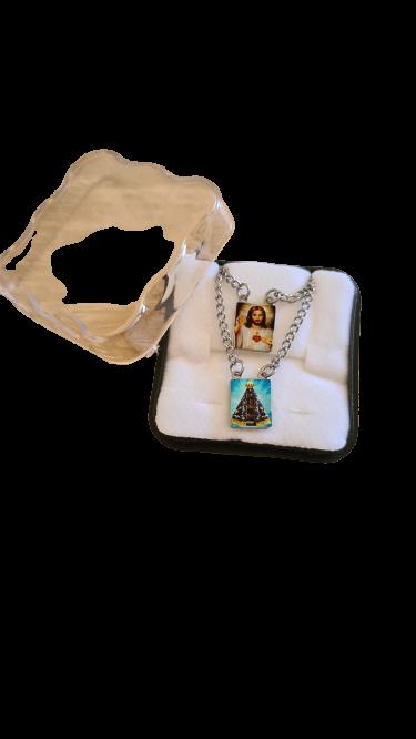 Escapulário Nossa Senhora Aparecida colorido inox