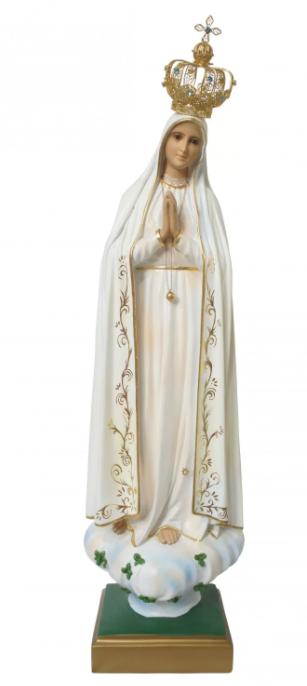 Nossa Senhora de Fátima em resina com Olhos de Vidro - 70cm