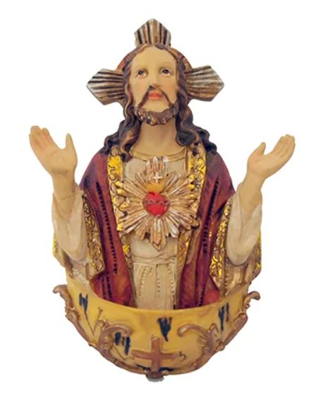 Porta Água Benta  Benta Sagrado Coração de Jesus - 13cm