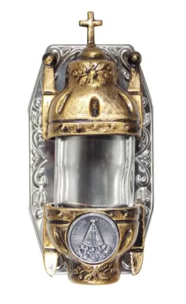 Porta Água Benta Nossa Senhora Aparecida em Metal Ouro Velho - 15cm