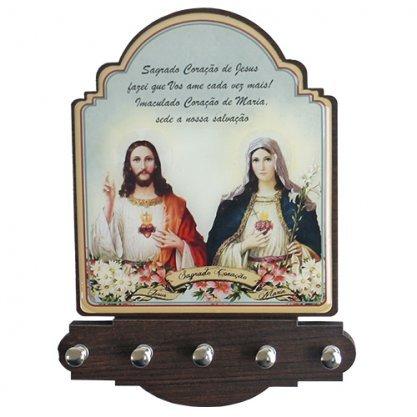 Porta Chave Sagrado Coração de Jesus e Imaculado Coração de Maria